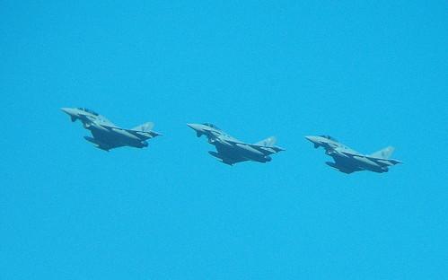 3 Typhoons flying over RAF Leuchars