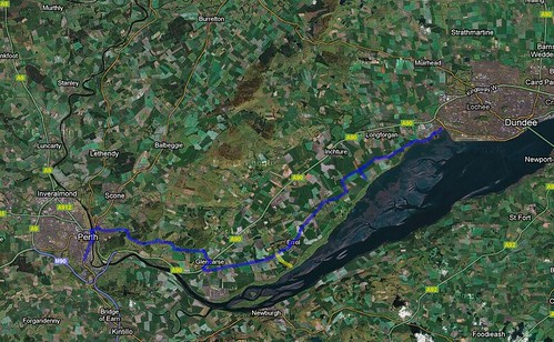 Map of Bike Ride to Invergowrie
