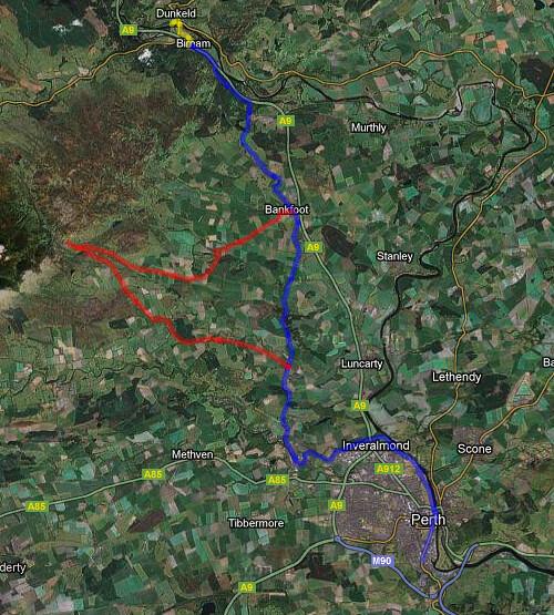 Map of Bike Ride to Dunkeld